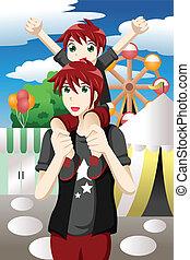 Father son at amusement park