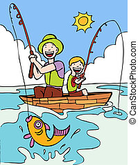 Father Son Fishing Trip cartoon with two people on a boat...