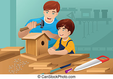 Father son making a birdhouse - A vector illustration of...