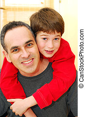 Father son portrait - Portrait of smiling father and son ...