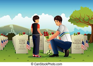 Father Son Visiting Cemetery on Memorial Day - A vector...