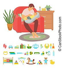 Happy father takes care of small child sitting in red armchair vector, dad feeds newborn baby, toys for boys and girls horse and bib, cradle and duck, concept for Father day