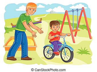 Father teaches to ride a bike little boy