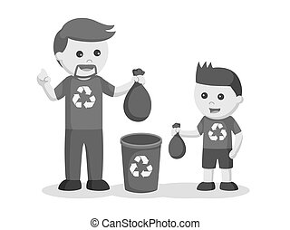 Father teaching his son to put litter to bin