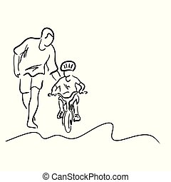 father teaching his son to ride a bicycle vector illustration sketch hand drawn with black lines isolated on white background