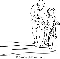father teaching his son with safety helmet to ride a bicycle vector illustration sketch hand drawn with black lines isolated on white background. Copyspace for text.
