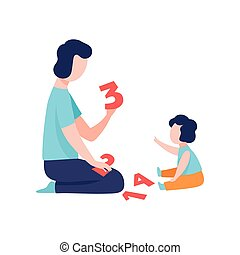 Father Teaching Son to Count, Father Having Good Time with His Kid Vector Illustration