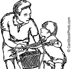 father teaching son to ride a bike vector illustration outline sketch hand drawn with black lines isolated on white background