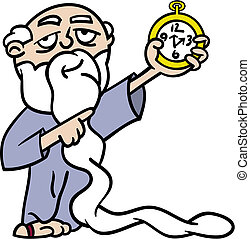 Father Time pointing at watch - Cartoon illustration of...