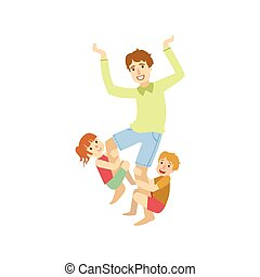 Father Trying To Shake Off The Kids Hanging On His Legs