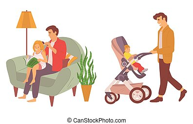 Father spending time with kid vector, daddy brushing daughters hair, male caring for son sitting in perambulator, man in armchair by lamp light isolated