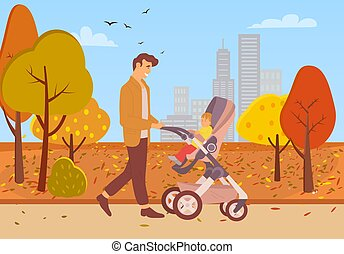 Park in autumn vector, father pushing perambulator with child, autumnal walk leisure people spending weekends, active strolling in city dad and son, concept for Father day