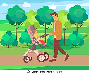 Child and daddy on walk vector, nature and greenery of forest park, father and kid sitting in perambulator and watching natural foliage and trees, concept for Father day