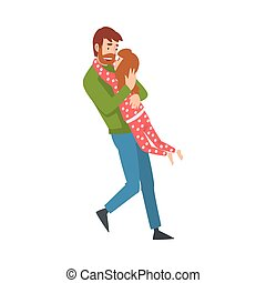 Father whirls with his daughter in his arms cartoon vector illustration