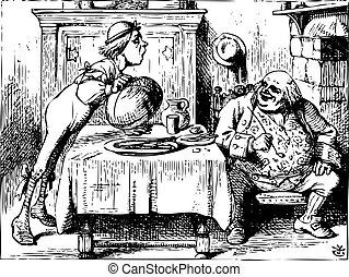 Father William having dinner - Alice in Wonderland old...
