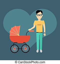 Father with a Baby Carriage Banner
