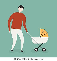 Father With a Baby In a Stroller.