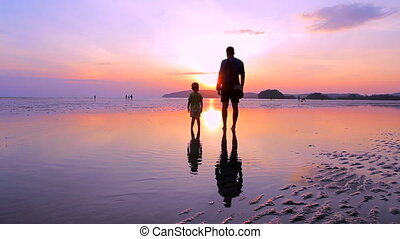 Father with a son on the beach