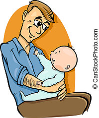 father with baby cartoon illustration
