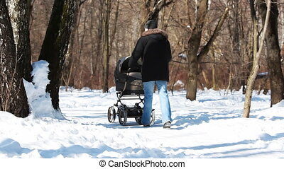 father with baby in stroller go through forest, winter