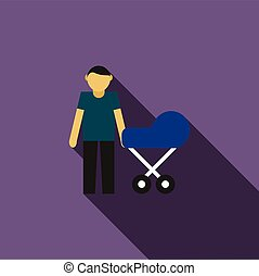 Father with baby in stroller icon, flat style