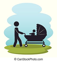 father with baby on park silhouette characters