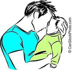 father with baby vector illustration