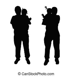 father with baby vector silhouette