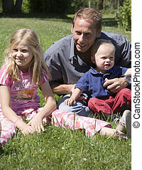 father with children - father with his son and daughter
