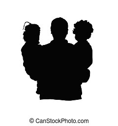 father with children silhouette illustration