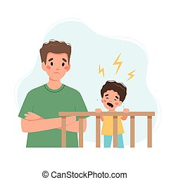Father with crying baby. Children sleeping problems concept.