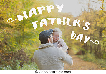 Father with daughter in park. Fathers day concept.