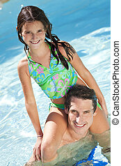 Father With Daughter On His Shoulders In Swimming Pool