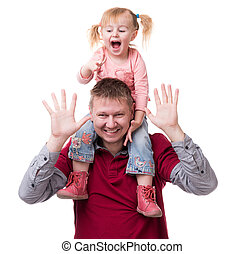 father with daughter on his shoulders with hands up