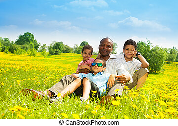 Father with happy family