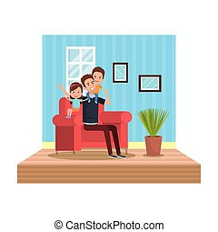 father with kids in livingroom
