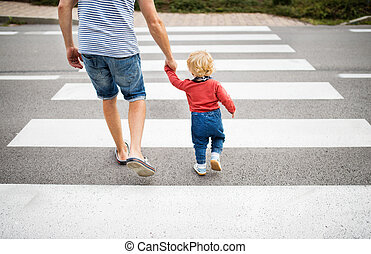 Father with little boy crossing the road on crosswalk.
