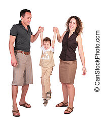 father with mother have lifted the son for hands