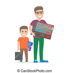 Father with Son Buying Electronics Flat Vector