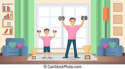Father with Son Doing Exercises at Home Vector