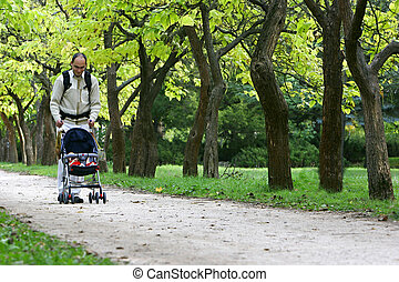 father with son in park