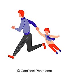 Father with son running