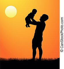 Father with son walk at sunset. Silhouette of a man with a child. vector illustration