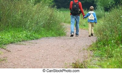 father with son walking in park, join hands, from camera
