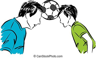 father with son with soccer ball in head vector illustration