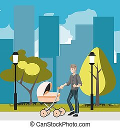 Father with stroller in the city