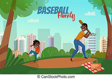 Fatherhood Baseball Illustration - Fatherhood scene with dad...