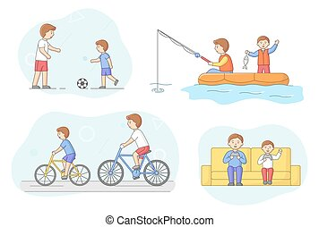 Fatherhood Concept. Father Spend Time With Son. Characters Play Football, Fishing, Ride Bicycle In The Park And Play Video Games With Console. Cartoon Linear Outline Flat Style. Vector Illustration