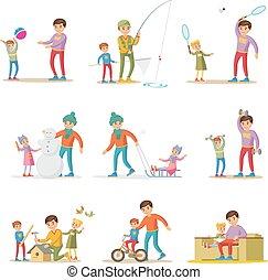 Fatherhood Elements Set - Fatherhood elements set with happy...