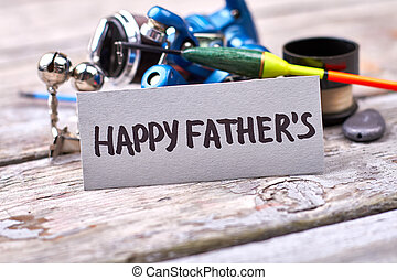 Father's Day and fishing tackle. Greeting card on grunge ...